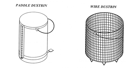 Paddle & Wire Dustbin